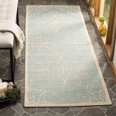 Martha Stewart Blue/Beige Area Rug Rug Size: Rectangle 2.5 x 8