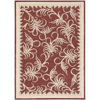 Fountain Swirl Hand-Woven Red/Ivory Area Rug Rug Size: Rectangle 4 x 57