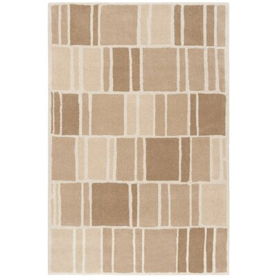 Blocks Hand-Loomed Camel / Ivory Area Rug Rug Size: Rectangle 4 x 6