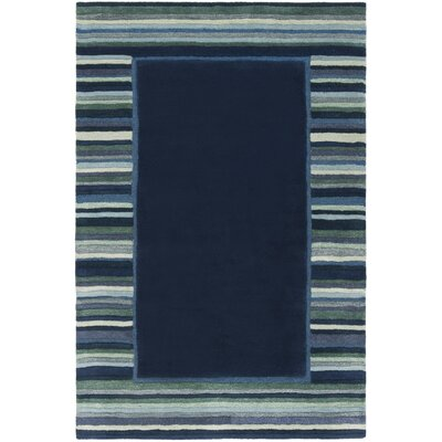 Striped Border Hand-Tufted Wrought Iron Area Rug Rug Size: Rectangle 4 x 6