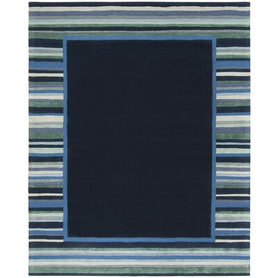 Striped Border Hand-Tufted Wrought Iron Area Rug Rug Size: Rectangle 8 x 10
