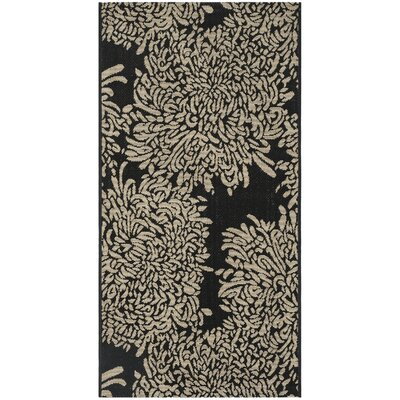 Chrysanthemum Black/Beige Area Rug Rug Size: Rectangle 27 x 5