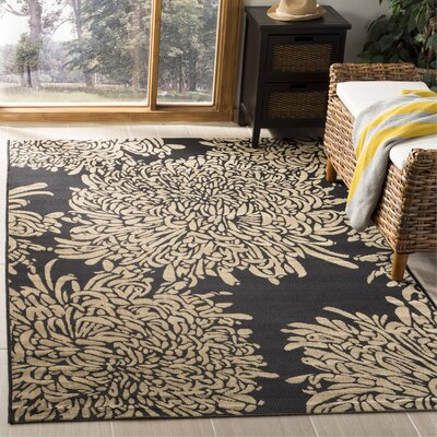 Chrysanthemum Black/Beige Area Rug Rug Size: Rectangle 53 x 77