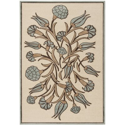 Floral Arabesque Hand-Loomed Ivory/Green Area Rug Rug Size: Rectangle 4 x 57