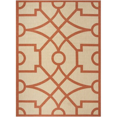 Martha Stewart Fretwork Beige / Terracotta Area Rug Rug Size: Rectangle 8 x 112