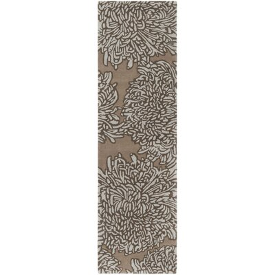 Martha Stewart Chrysanthemum Tufted / Hand Loomed Brown/Ivory Area Rug Rug Size: Runner 23 x 8
