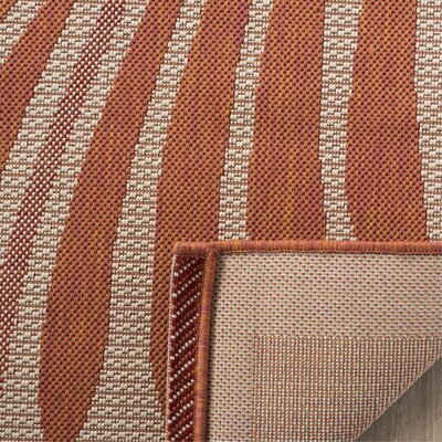 Tropic Palm Beige/Terracotta Area Rug Rug Size: Rectangle 53 x 77