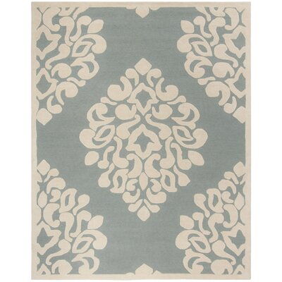 Floret Hand-Loomed Green/Beige Area Rug Rug Size: Rectangle 8 x 10