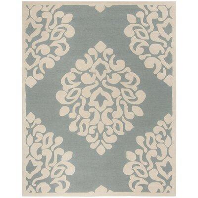 Floret Hand-Loomed Green/Beige Area Rug Rug Size: Rectangle 8 x 10