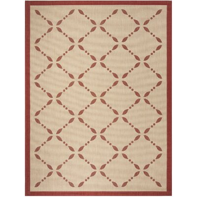 Martha Stewart Creme/Red Area Rug Rug Size: Rectangle 67 x 96