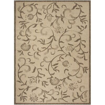Swirling Garden Creme / Brown Area Rug Rug Size: Rectangle 8 x 112