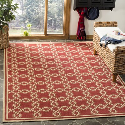 Martha Stewart Red/Creme Area Rug Rug Size: Rectangle 27 x 5