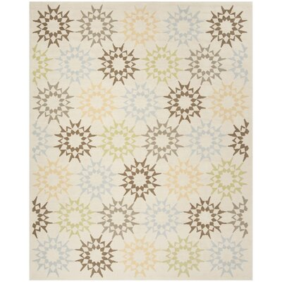 Martha Stewart Hand-Hooked Cotton Creme Area Rug Rug Size: Rectangle 79 x 99