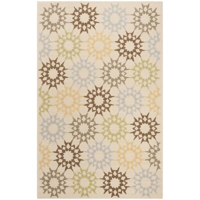 Martha Stewart Hand-Hooked Cotton Creme Area Rug Rug Size: Rectangle 56 x 86