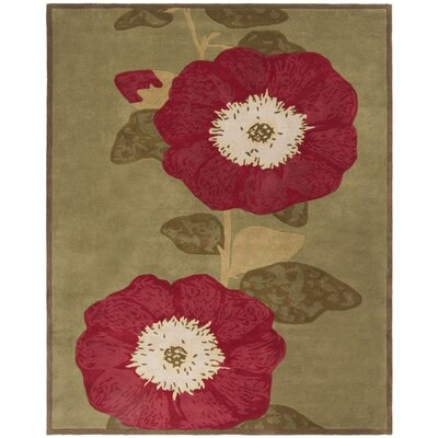 Martha Stewart Hand-Tufted Dill/Red Area Rug Rug Size: Rectangle 8 x 10