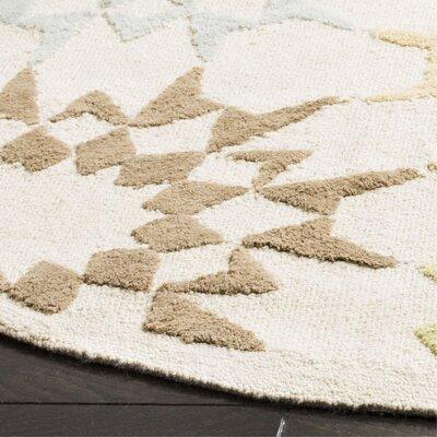 Martha Stewart Hand-Hooked Cotton Creme Area Rug Rug Size: Round 6