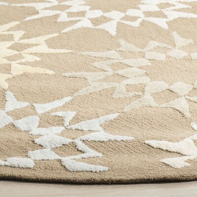 Martha Stewart Hand-Hooked Cotton Pebble/Gray Area Rug Rug Size: Round 6
