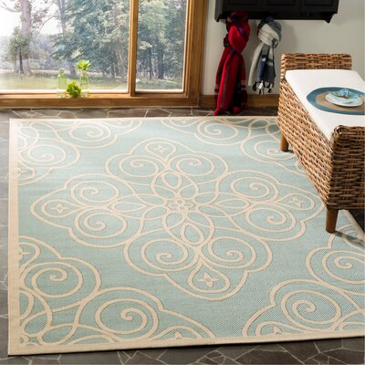 Martha Stewart Blue/Beige Area Rug Rug Size: Rectangle 5-3 X 7-7