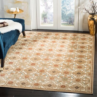 Martha Stewart Imperial Palace Taupe/Cream Area Rug Rug Size: Rectangle 53 x 76