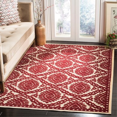 Hand-Woven Red Area Rug Rug Size: Rectangle 53 x 76