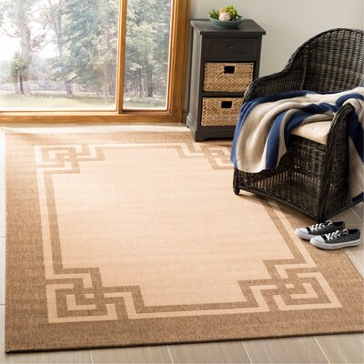 Deco Frame Beige / Dark Beig Area Rug Rug Size: Rectangle 53 x 77