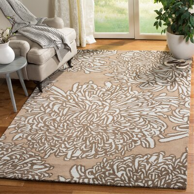 Martha Stewart Chrysanthemum Tufted / Hand Loomed Brown/Ivory Area Rug Rug Size: Rectangle 5 x 8