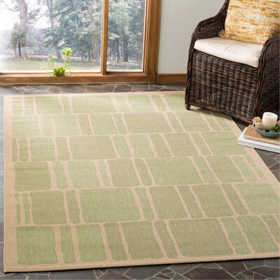 Martha Stewart Blocks Green/Beige Area Rug Rug Size: Rectangle 53 x 77