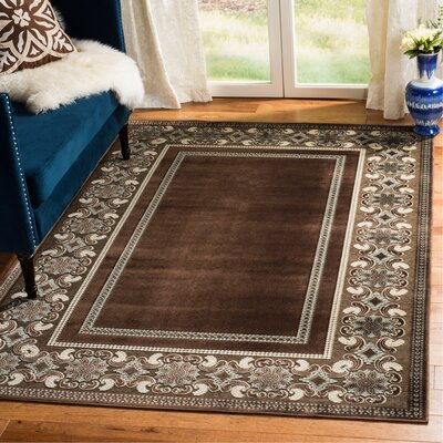 Taj Mahal Hand-Loomed Brown/Ivory Area Rug Rug Size: Rectangle 53 x 76