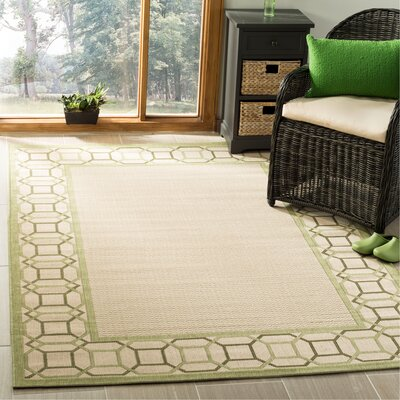 Martha Stewart Facet Border Beige/Beach Grass Area Rug Rug Size: Rectangle 53 x 77