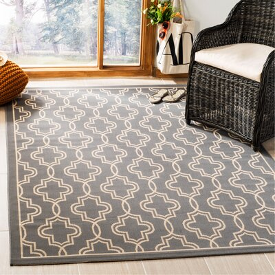 Martha Stewart Anthracite/Beige Area Rug Rug Size: Rectangle 53 x 77