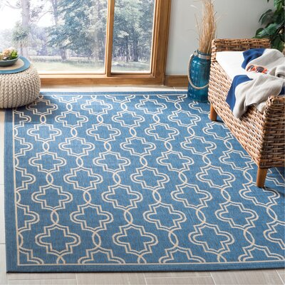 Martha Stewart Beige/Blue Area Rug Rug Size: Rectangle 53 x 77