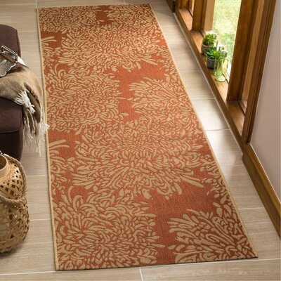 Chrysanthemum Power Loomed Polypropylene Beige/Terracotta Outdoor Area Rug Rug Size: Runner 27 x 82