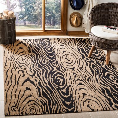 Coffee/Black Area Rug Rug Size: Rectangle 53 x 77