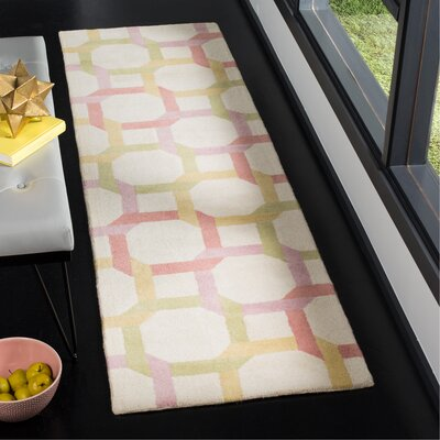 Tufted-Hand-Loomed Yellow/Red/Green Area Rug Rug Size: Runner 23 x 8