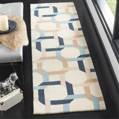Hand-Loomed Blue/Yellow Area Rug Rug Size: Runner 23 x 8