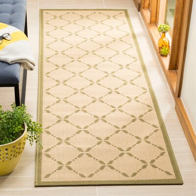 Martha Stewart Cream/Green Area Rug Rug Size: Runner 27 x 82