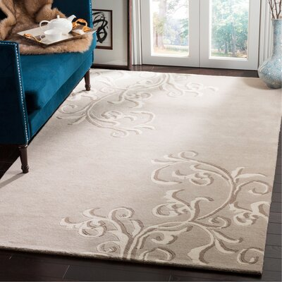 Martha Stewart Avalon Vine Tufted / Hand Loomed Gray/Beige Area Rug Rug Size: Rectangle 5 x 8
