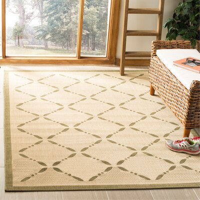 Martha Stewart Cream/Green Area Rug Rug Size: Rectangle 53 x 77