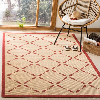 Martha Stewart Creme/Red Area Rug Rug Size: Rectangle 53 x 77