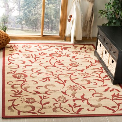 Swirling Garden Creme / Red Area Rug Rug Size: Rectangle 53 x 77