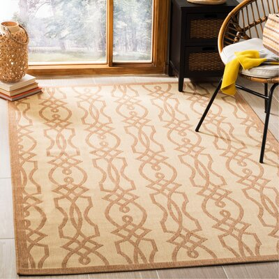 Martha Stewart Villa Screen Tan/Ivory Area Rug Rug Size: Rectangle 53 x 77