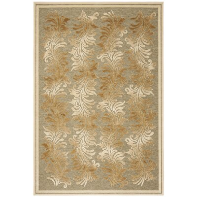 Plume Stripe Hand-Loomed Green Area Rug Rug Size: Rectangle 53 x 76