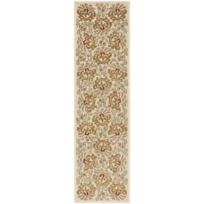 Floating Dahlia Tufted-Hand-Loomed Beige/Brown Area Rug Rug Size: Runner 22 x 8