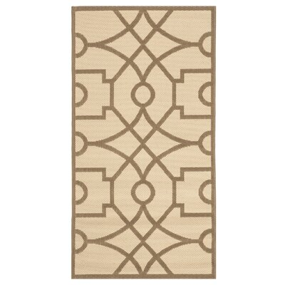 Fretworkf Beige/Dark Beige Area Rug Rug Size: Rectangle 27 x 5