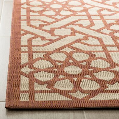 Triumph Cayenne Red/Gray Outdoor Area Rug Rug Size: Rectangle 53 x 77