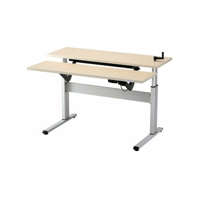 Equity Height Adjustable Training Table Size: 28 H x 72 W x 72 D, Tabletop Finish: Living Teak
