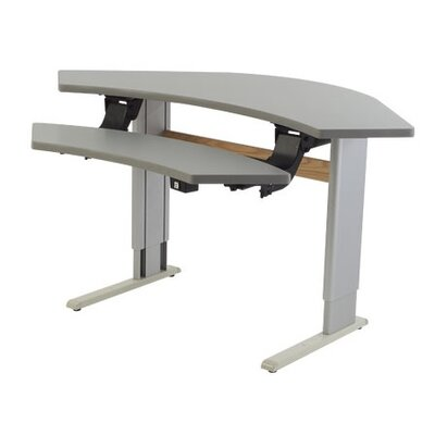 Infinity Adjustable Corner Workstation Training Table Urban Walnut Product Photo