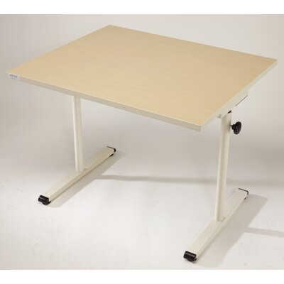 36 W Height Adjustable Training Table Base Finish: Graphite Silver, Tabletop Finish: American Maple