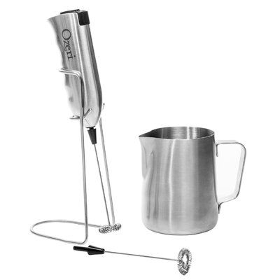 Deluxe Milk Frother and 12 oz Frothing Pitcher with Extra Whisk Attachment OZMF2