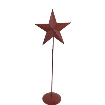 Tin Star Wreath Stand Sculpture Color: Antique Barn Red